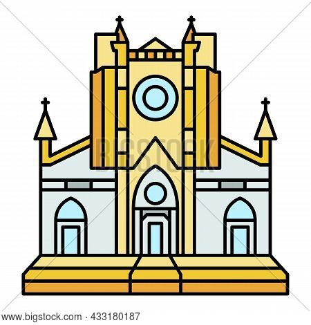 Catholic Temple Icon. Outline Catholic Temple Vector Icon Color Flat Isolated On White