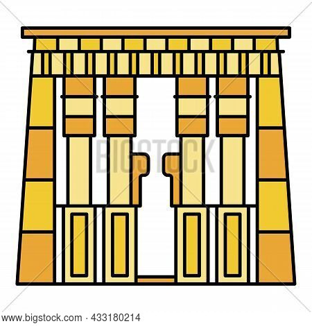 Egypt Temple Icon. Outline Egypt Temple Vector Icon Color Flat Isolated On White