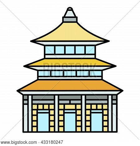 Asia Temple Icon. Outline Asia Temple Vector Icon Color Flat Isolated On White
