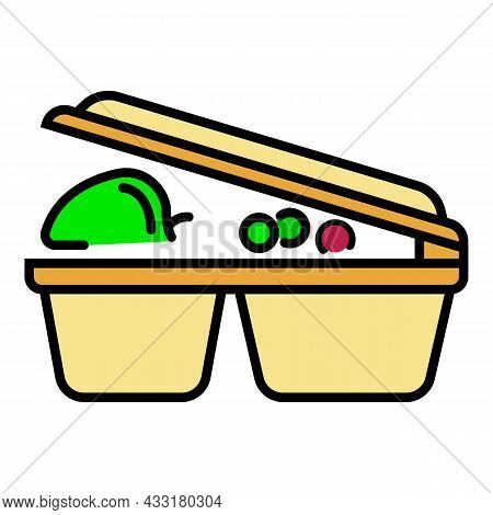 Lunch Plastic Box Icon. Outline Lunch Plastic Box Vector Icon Color Flat Isolated On White