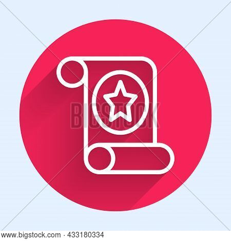 White Line Magic Scroll Icon Isolated With Long Shadow. Decree, Paper, Parchment, Scroll Icon. Red C