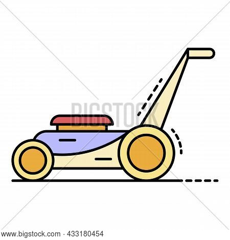 Motor Grass Cutter Icon. Outline Motor Grass Cutter Vector Icon Color Flat Isolated On White