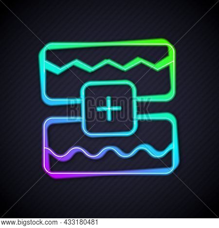 Glowing Neon Line Music Wave Equalizer Icon Isolated On Black Background. Sound Wave. Audio Digital