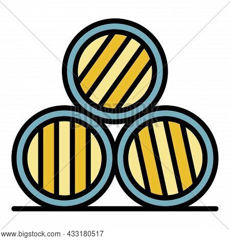 Whisky Barrel Stack Icon. Outline Whisky Barrel Stack Vector Icon Color Flat Isolated On White