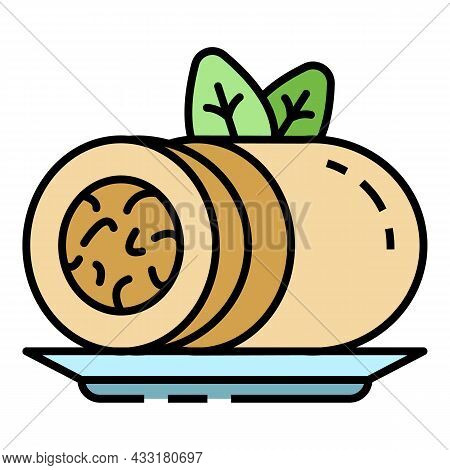 Spinach Roll Icon. Outline Spinach Roll Vector Icon Color Flat Isolated On White