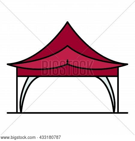 Outdoor Tent Icon. Outline Outdoor Tent Vector Icon Color Flat Isolated On White