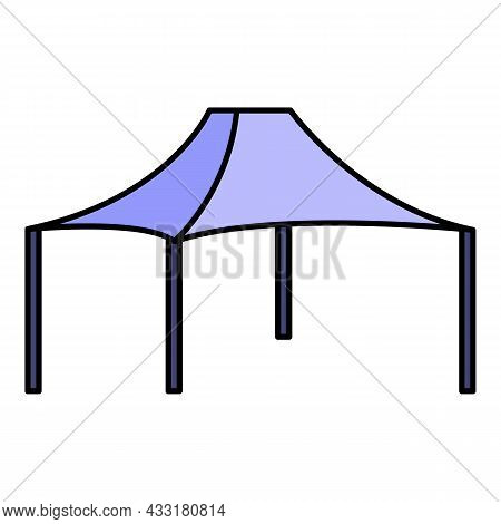 Tent Icon. Outline Tent Vector Icon Color Flat Isolated On White