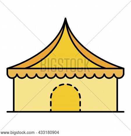 Circus Tent Icon. Outline Circus Tent Vector Icon Color Flat Isolated On White