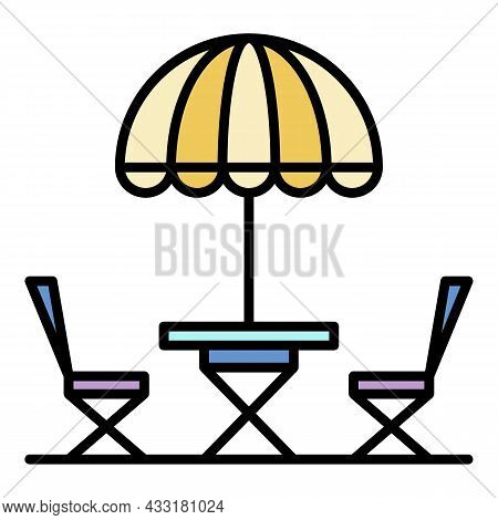Street Cafe Chair Umbrella Icon. Outline Street Cafe Chair Umbrella Vector Icon Color Flat Isolated