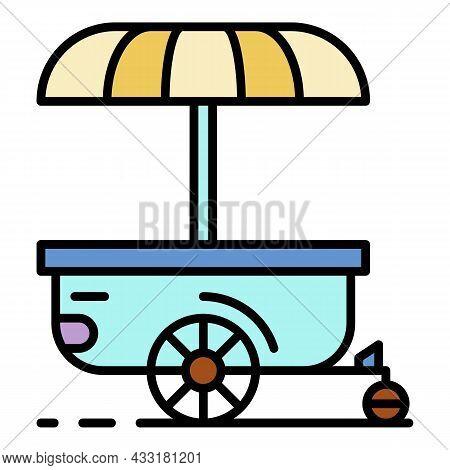 Street Shop Trailer Cart Icon. Outline Street Shop Trailer Cart Vector Icon Color Flat Isolated On W