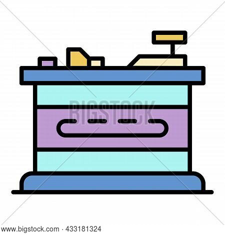 Cashier Stand Place Icon. Outline Cashier Stand Place Vector Icon Color Flat Isolated On White