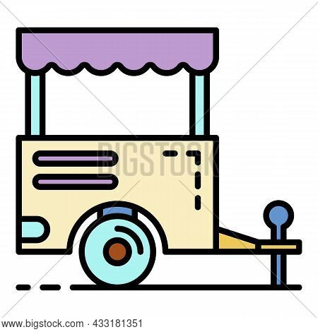 Trailer Shop Icon. Outline Trailer Shop Vector Icon Color Flat Isolated On White