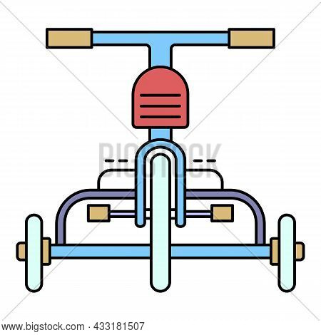 Front Tricycle Icon. Outline Front Tricycle Vector Icon Color Flat Isolated On White