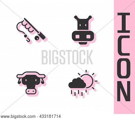 Set Cloud With Rain, Fishing Rod, African Buffalo Head And Hippo Or Hippopotamus Icon. Vector