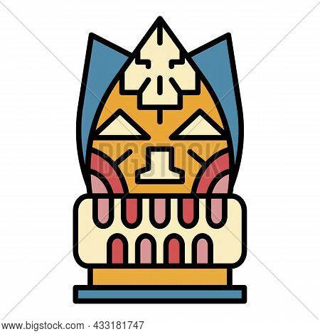 Totem Idol Icon. Outline Totem Idol Vector Icon Color Flat Isolated On White