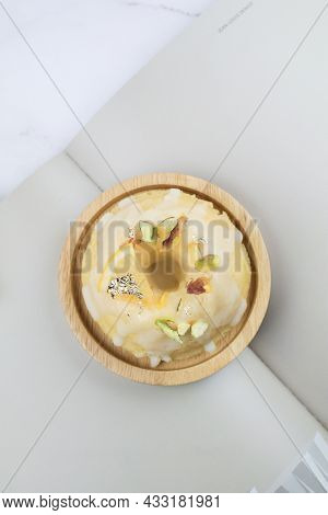 Lemon Cake With Sugar Frosting On Marble Table. Healthy Dessert. Delicious Breakfast, Traditional Te