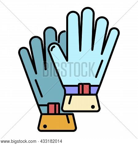 Rafting Gloves Icon. Outline Rafting Gloves Vector Icon Color Flat Isolated On White