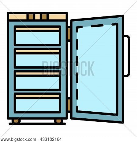 Hotel Freezer Icon. Outline Hotel Freezer Vector Icon Color Flat Isolated On White