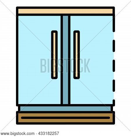 Commercial Freezer Icon. Outline Commercial Freezer Vector Icon Color Flat Isolated On White