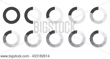Circle Part. Grey Icon On White Background. Round Diagram Part. Geometric Element. Vector Illustrati