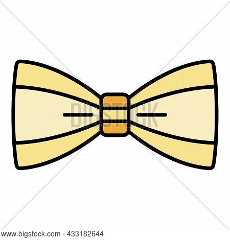 Man Bow Tie Icon. Outline Man Bow Tie Vector Icon Color Flat Isolated On White