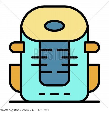 Mountain Backpack Icon. Outline Mountain Backpack Vector Icon Color Flat Isolated On White