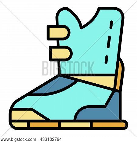 Ski Boot Icon. Outline Ski Boot Vector Icon Color Flat Isolated On White