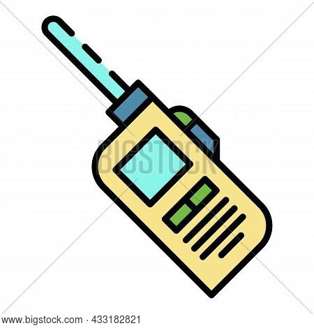 Walkie Talkie Icon. Outline Walkie Talkie Vector Icon Color Flat Isolated On White