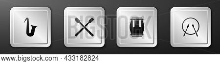 Set Musical Instrument Saxophone, Drum Sticks, And And Drum Icon. Silver Square Button. Vector