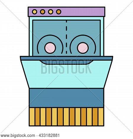 Dishwasher Machine Icon. Outline Dishwasher Machine Vector Icon Color Flat Isolated On White
