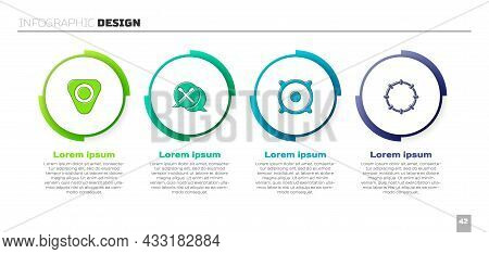 Set Guitar Pick, Drum Sticks, Stereo Speaker And Tambourine. Business Infographic Template. Vector