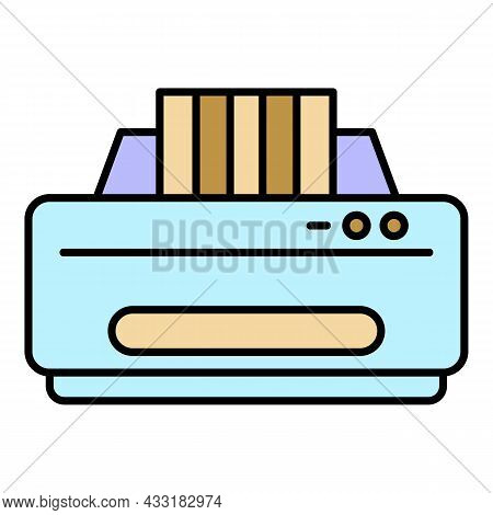 Jet Printer Icon. Outline Jet Printer Vector Icon Color Flat Isolated On White