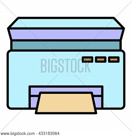 Classic Printer Icon. Outline Classic Printer Vector Icon Color Flat Isolated On White