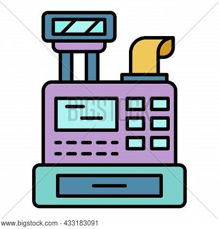 Cashier Machine Icon. Outline Cashier Machine Vector Icon Color Flat Isolated On White