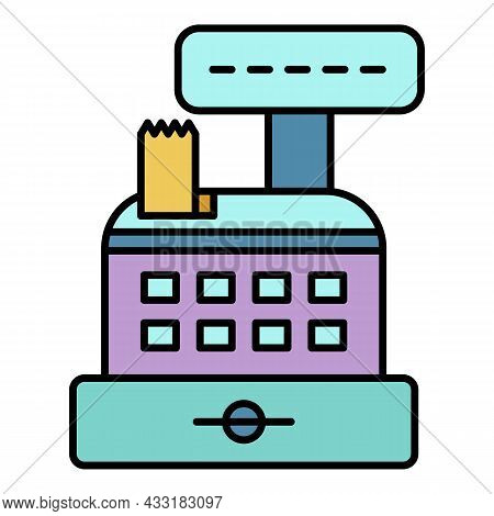 Cash Register Icon. Outline Cash Register Vector Icon Color Flat Isolated On White