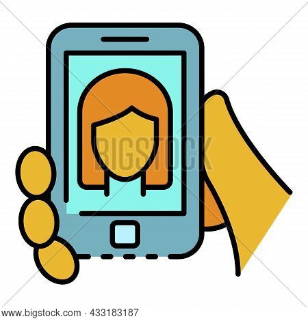 Smartphone Webinar Icon. Outline Smartphone Webinar Vector Icon Color Flat Isolated On White