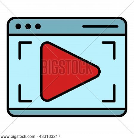 Webinar Web Page Icon. Outline Webinar Web Page Vector Icon Color Flat Isolated On White