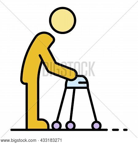 Invalid Man Walker Icon. Outline Invalid Man Walker Vector Icon Color Flat Isolated On White