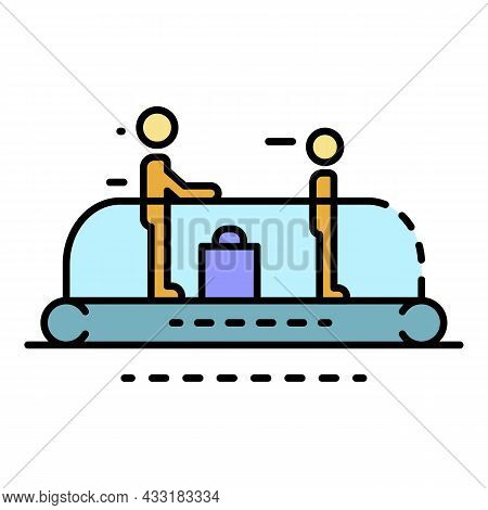 People At Escalator Icon. Outline People At Escalator Vector Icon Color Flat Isolated On White