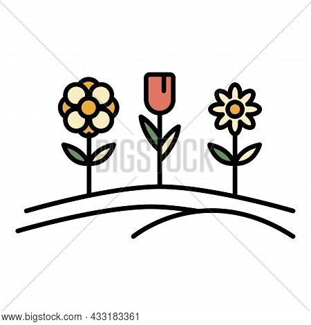 Pension Flower Garden Icon. Outline Pension Flower Garden Vector Icon Color Flat Isolated On White