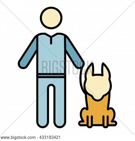 Senior Man With Dog Icon. Outline Senior Man With Dog Vector Icon Color Flat Isolated On White