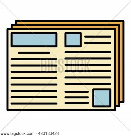 Newspaper Icon. Outline Newspaper Vector Icon Color Flat Isolated On White
