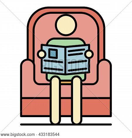 Senior Man Read Newspaper In Armchair Icon. Outline Senior Man Read Newspaper In Armchair Vector Ico