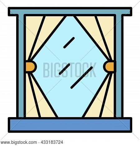 Cute Window Curtain Icon. Outline Cute Window Curtain Vector Icon Color Flat Isolated On White
