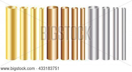 Gold, Copper And Silver Aluminium Pipes Set Of Different Diameters. Industrial Concept. Vector Illus