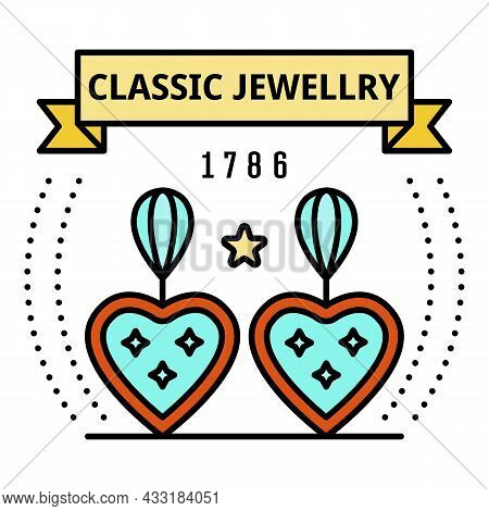 Classic Jewelry Logo. Outline Classic Jewelry Vector Logo Color Flat Isolated On White