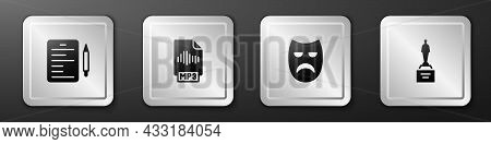 Set Scenario, Mp3 File Document, Drama Theatrical Mask And Movie Trophy Icon. Silver Square Button.