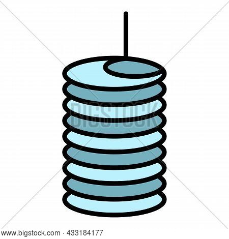 Coil Icon. Outline Coil Vector Icon Color Flat Isolated On White