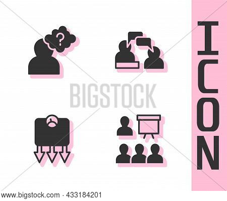 Set Training, Presentation, Head With Question Mark, Weight Loss And Two Sitting Men Talking Icon. V