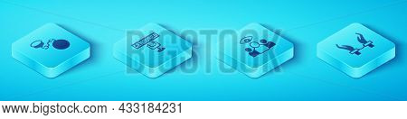 Set Isometric Ball On Chain, Censored Stamp, Handcuffs Hands Of Criminal And Spy, Agent Icon. Vector